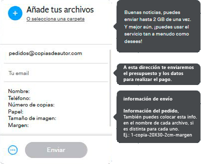 Proceso de envío de archivos a través de Wetransfer